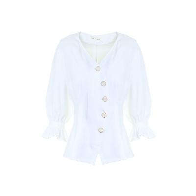 front button shirring detail top white